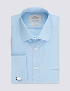 Men's Blue Slim Fit Dress Shirt With Pocket - Double Cuff - Easy Iron