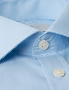 Men's Blue Slim Fit Business Shirt With Pocket - Double Cuff - Easy Iron