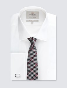 Men's White Slim Fit Shirt With Pocket - Double Cuff - Easy Iron