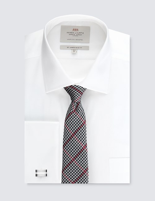 Men's White Slim Fit Dress Shirt With Pocket - Double Cuff - Easy Iron