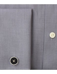 Men's Plain Grey End On End Slim Fit Luxury Cotton Shirt - Double Cuff