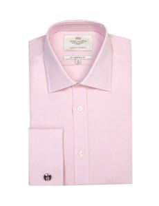 Men's Plain Pink End On End Slim Fit Luxury Cotton Shirt - Double Cuff