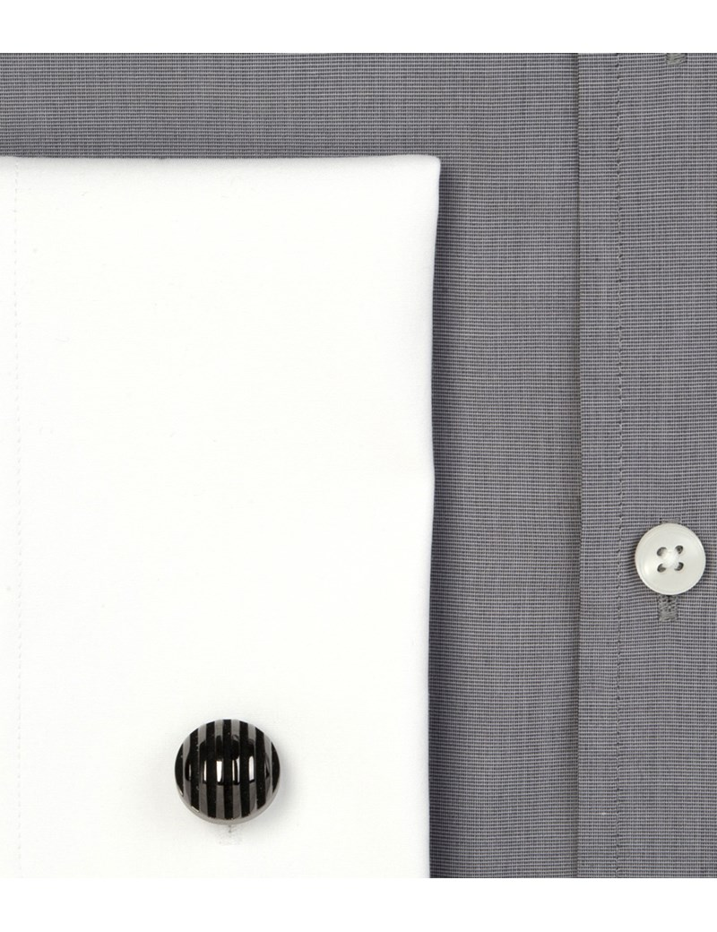 Men's Grey End On End Slim Fit Business Shirt - Double Cuff - Easy Iron