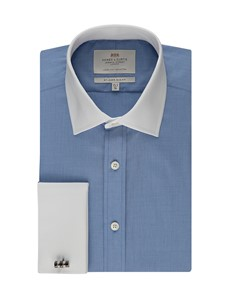 Men's Formal Blue Slim Fit Shirt With White Collar & Cuff - Double Cuff - Easy Iron