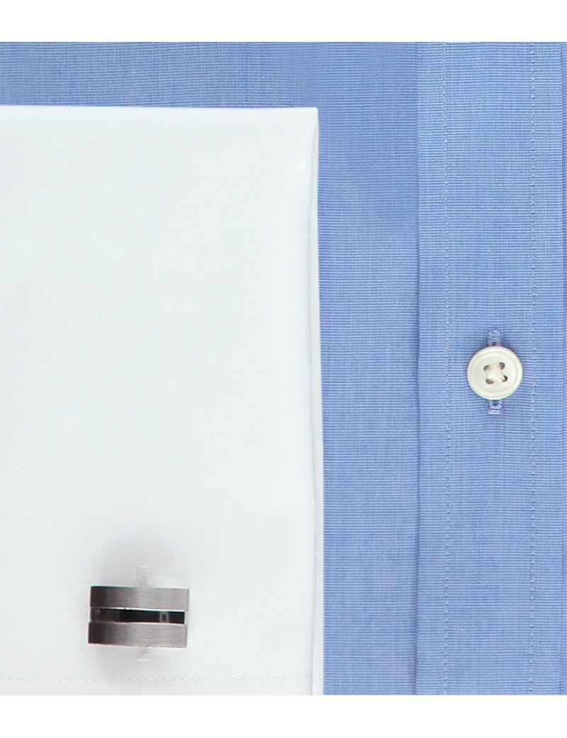 Men's Blue Slim Fit Shirt with White Collar and Cuff - Double Cuff - Easy Iron