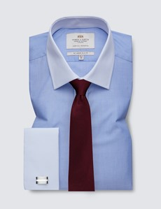 Men's Dress Blue End on End Slim Fit Shirt with White Collar & Cuff - Easy Iron