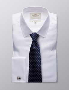 Men's White Slim Fit Twill Office Shirt - French Cuff - Easy Iron