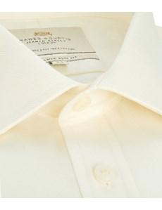 Men's Cream Twill Slim Fit Shirt - Double Cuff - Easy Iron