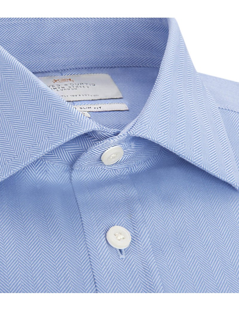 Men's  Blue Herringbone Slim Fit Business Shirt - Double Cuff - Easy Iron