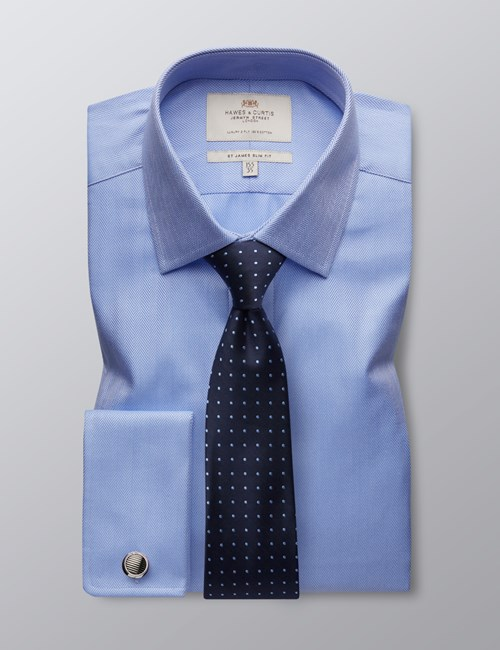 Men's Blue Herringbone Slim Fit Dress Shirt - French Cuff - Easy Iron
