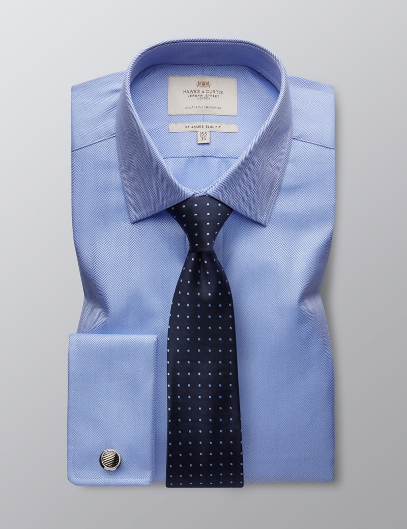 Men's Formal Blue Herringbone Slim Fit Shirt - Double Cuff - Easy Iron