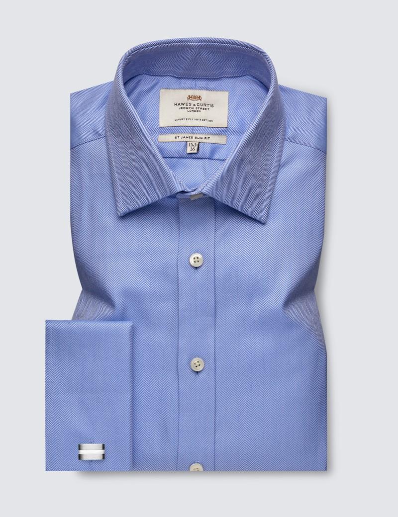 Men's  Blue Herringbone Slim Fit Business Shirt - Double Cuff - Easy Iron