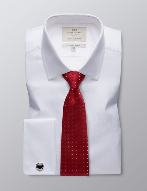 Men's White Herringbone Slim Fit Cotton Dress Shirt - Double Cuff - Easy Iron