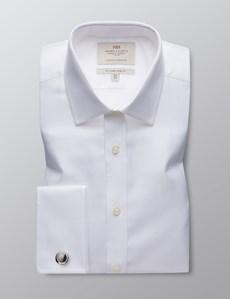 Business Hemd – Slim Fit – Manschetten – Fischgrat weiß