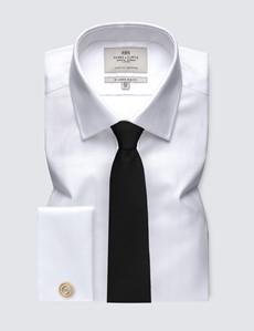 Men's  White Herringbone Slim Fit Business Shirt - Double Cuff - Easy Iron