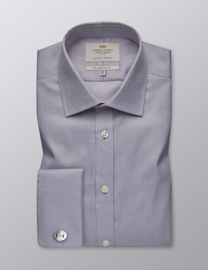 Men's Formal Grey Herringbone Slim Fit Shirt - Double Cuff - Easy Iron