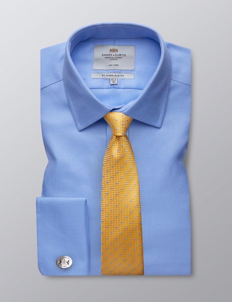 Men's  Blue Twill Slim Fit Cotton Business Shirt - Non Iron - Double Cuff