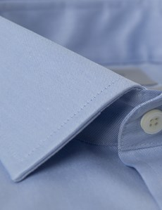 Men's Formal Blue Twill Slim Fit Shirt - Double Cuff - Non Iron