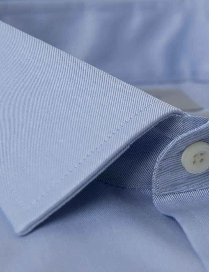 Men's Dress Blue Twill Slim Fit Shirt - French Cuff - Non Iron