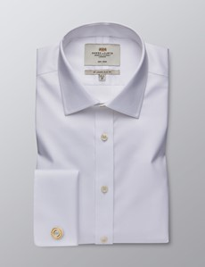 Men's Dress White Dobby Twill Slim Fit Shirt - French Cuff - Non Iron