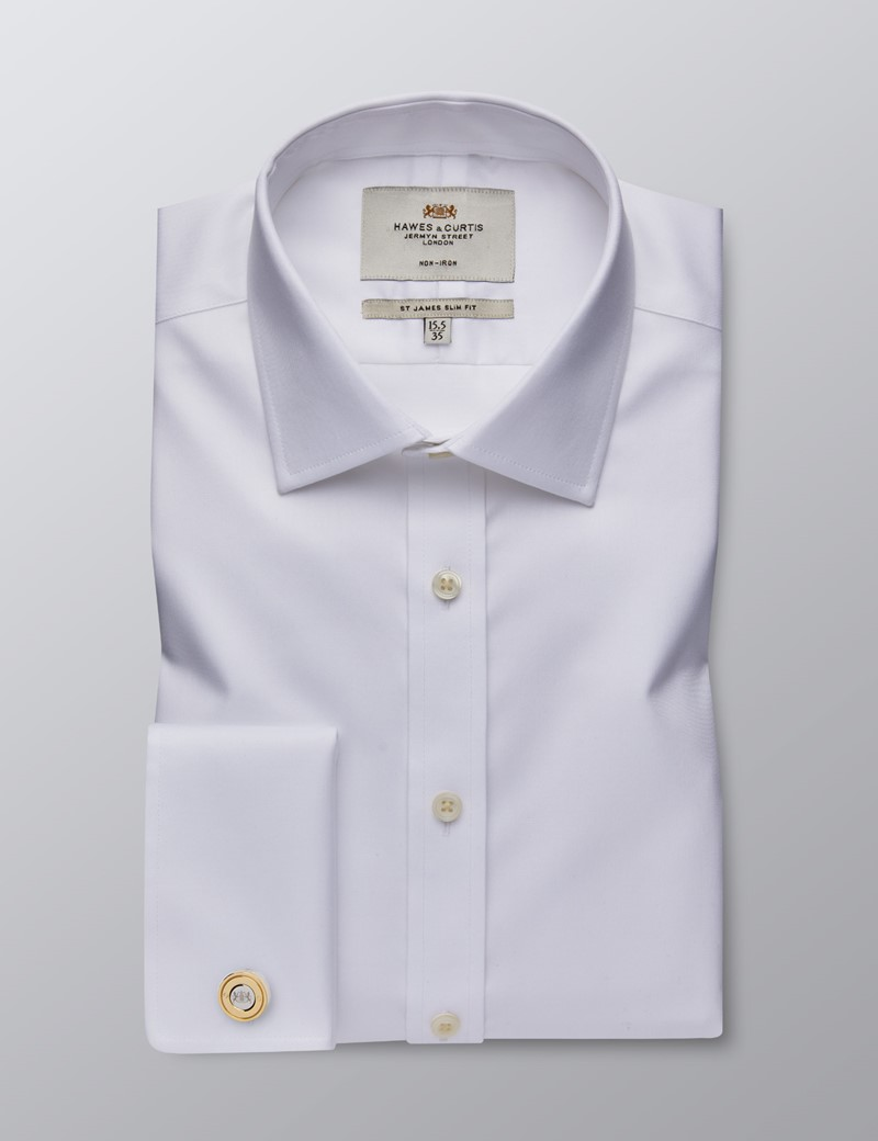 Men's Formal White Dobby Twill Slim Fit Shirt - Double Cuff - Non Iron