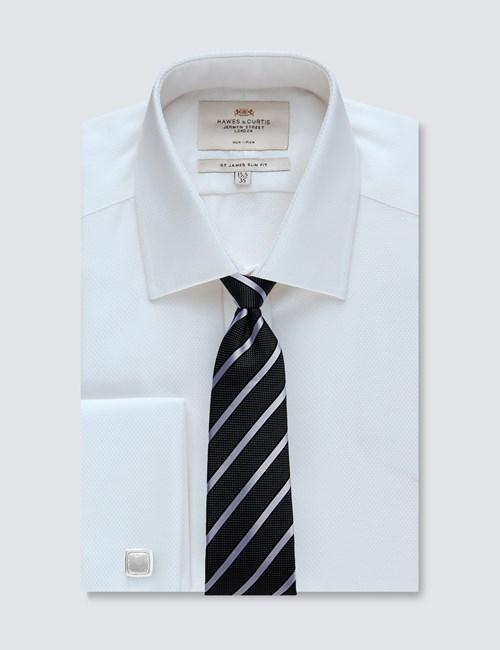 Men's Dress White Slim Fit Shirt - French Cuff - Non Iron