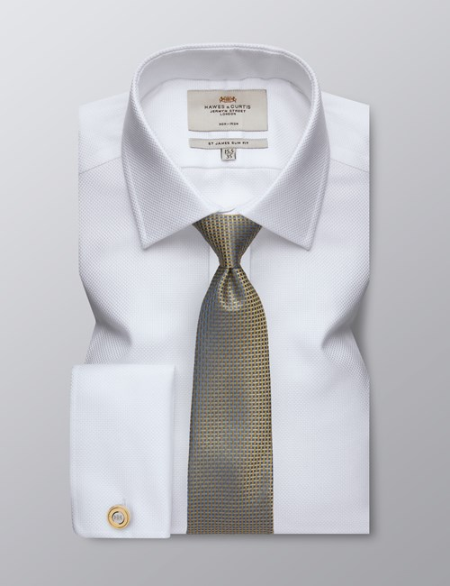 Men's Formal White Fabric Interest Slim Fit Shirt - Double Cuff - Non Iron