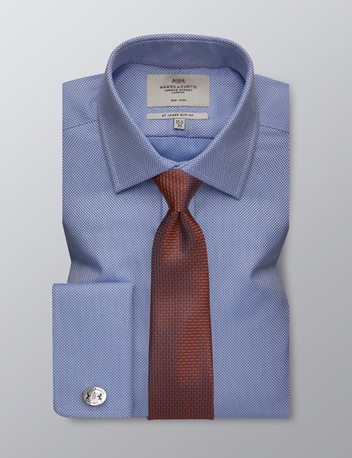 Men's Formal Blue Fabric Interest Slim Fit Shirt - Double Cuff - Non Iron