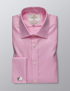Men's Formal Pink Dogstooth Slim Fit Shirt - Double Cuff - Non Iron