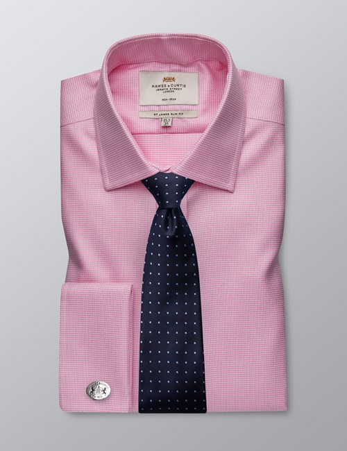 Men's Business Pink Dogstooth Slim Fit Shirt - Double Cuff - Non Iron