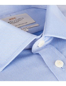 Men's Formal Blue Pique Slim Fit Cotton Shirt - Double Cuff - Easy Iron