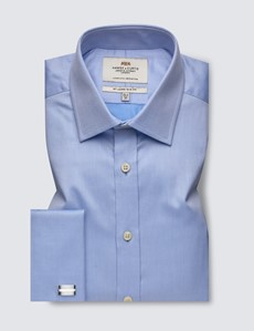 Men's Blue Pique Slim Fit Cotton Shirt - French Cuff - Easy Iron