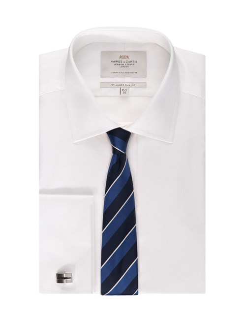Men's White Pique Slim Fit Cotton Dress Shirt - French Cuff - Easy Iron