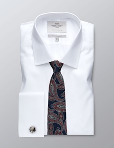 Business Hemd – Slim Fit – Kent Kragen – Piqué weiß
