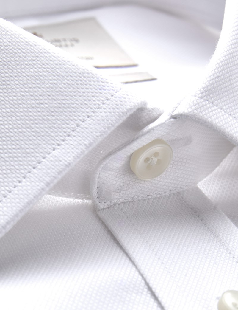 Men's Formal White Pique Slim Fit Shirt - Double Cuff - Easy Iron