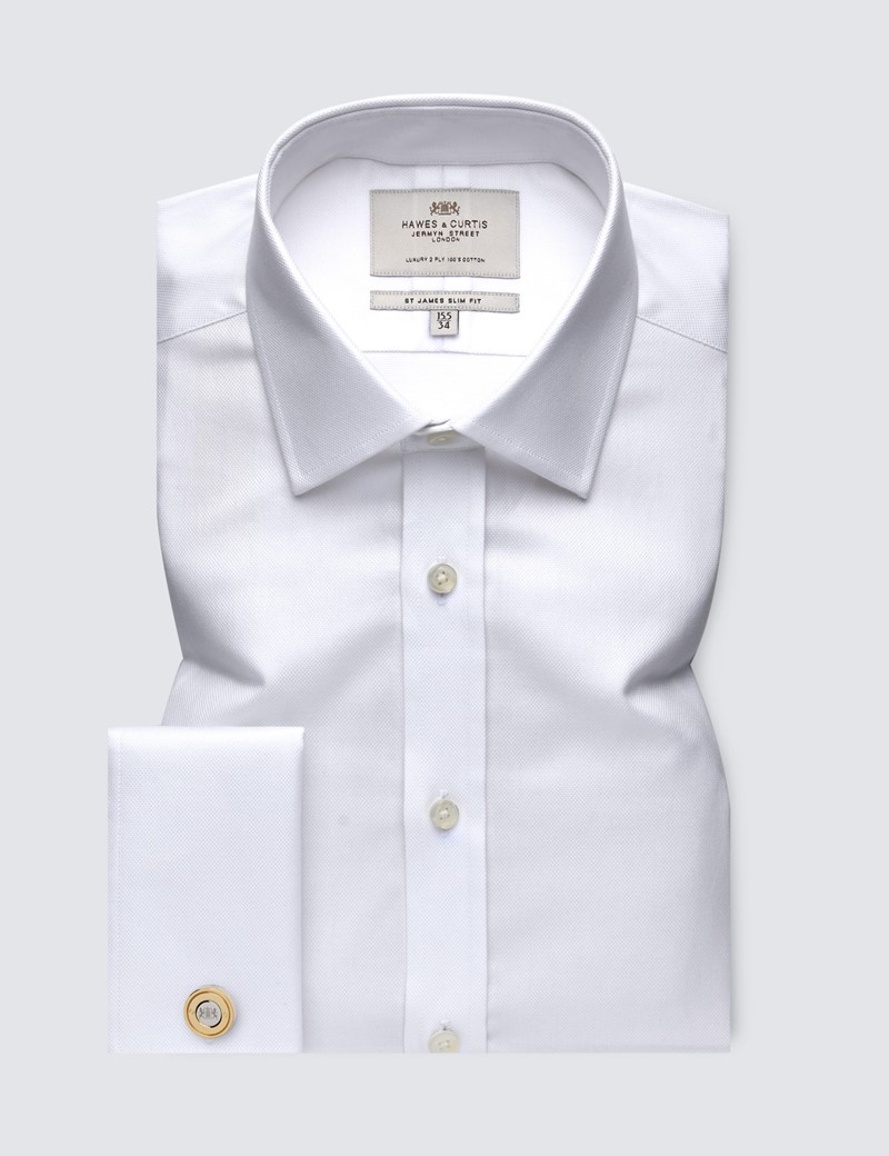 Men's  White Pique Slim Fit Business Shirt - Double Cuff - Easy Iron
