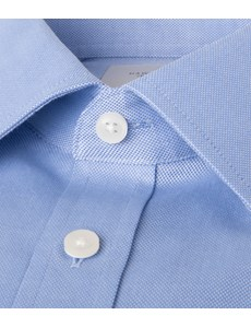 Men's Formal Blue Pique Slim Fit Shirt - Double Cuff - Easy Iron