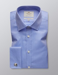 Men's  Blue Pique Slim Fit Business Shirt - Double Cuff - Easy Iron