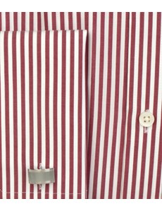 Men's Red & White Bengal Stripe Slim-Fit Cotton Business Shirt - Double Cuff