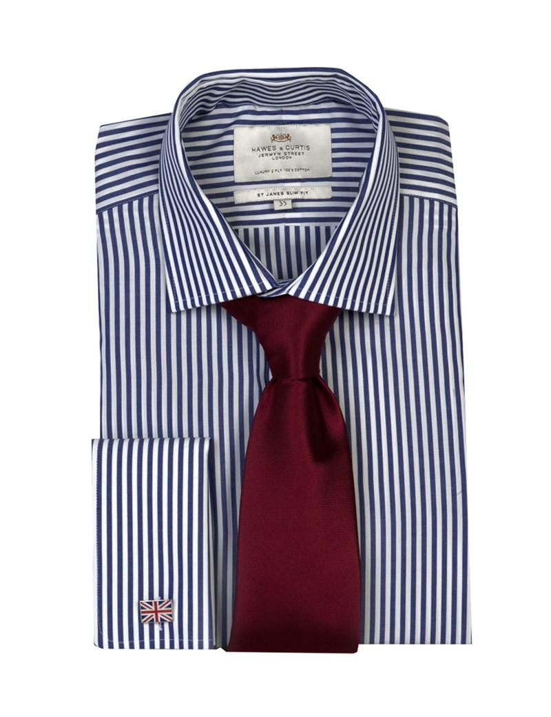 Men's Navy & White Bengal Stripe Slim Fit Shirt - Double Cuff