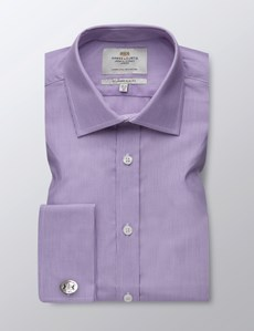 Men's  Lilac & White Fine Stripe Slim Fit Business Shirt - Double Cuff - Easy Iron