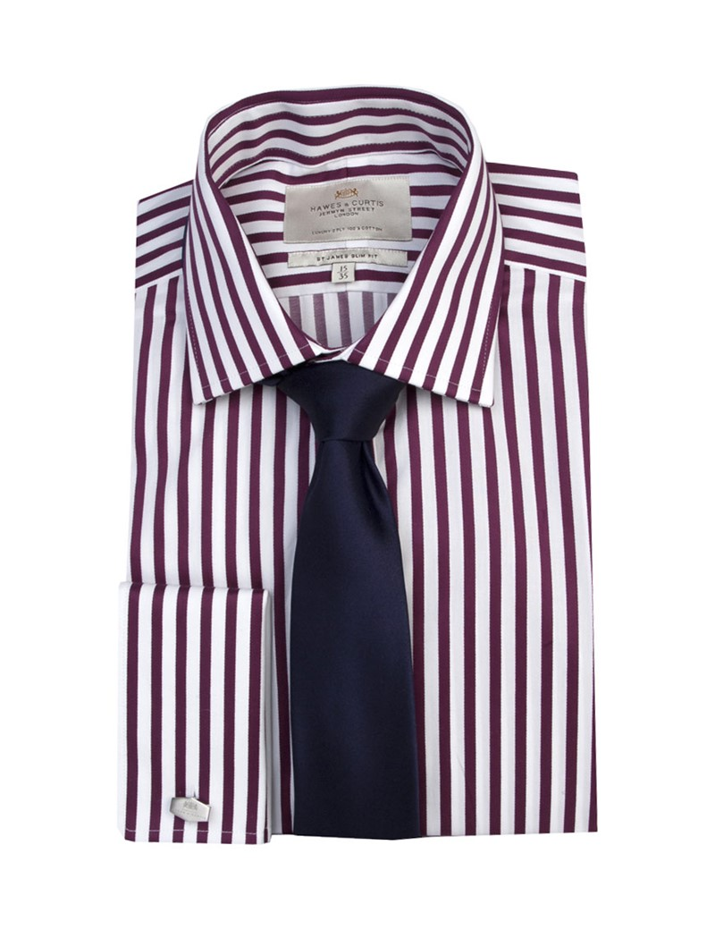 Men's White & Wine Wide Stripe Slim Fit Shirt - Double Cuff