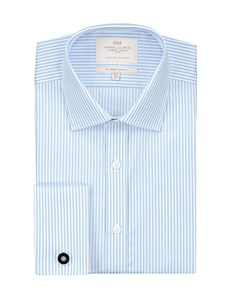 Men's Blue & White Bengal Stripe Slim Fit Dress Shirt - French Cuff - Easy Iron