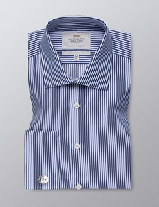Men's  Navy & White Bengal Stripe Slim Fit Business Shirt - Double Cuff - Easy Iron