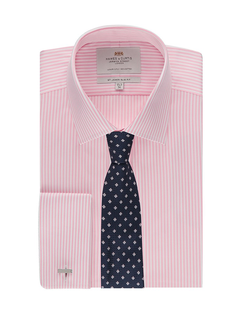 Men's Business Pink & White Bengal Stripe Slim Fit Shirt - Double Cuff - Easy Iron