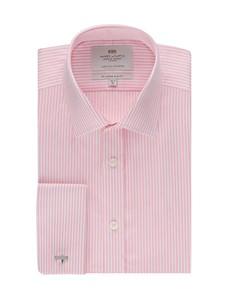 Men's Dress Pink & White Bengal Stripe Slim Fit Shirt - French Cuff - Easy Iron