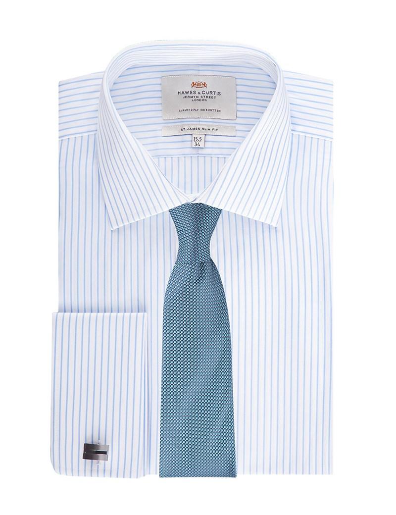 Men's Formal White & Light Blue Stripe Slim Fit Shirt - Double Cuff - Easy Iron
