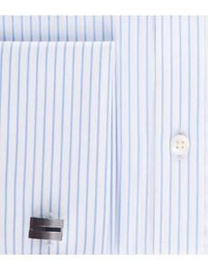 Men's Business White & Light Blue Stripe Slim Fit Shirt - Double Cuff - Easy Iron