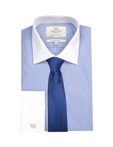 Men's Blue & White Fine Stripe Slim Fit Shirt With White Collar & Cuff