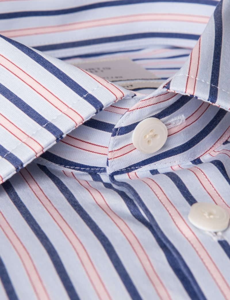 Men's Blue & Pink Multi Stripe Slim Fit Dress Shirt - Double Cuff - Easy Iron